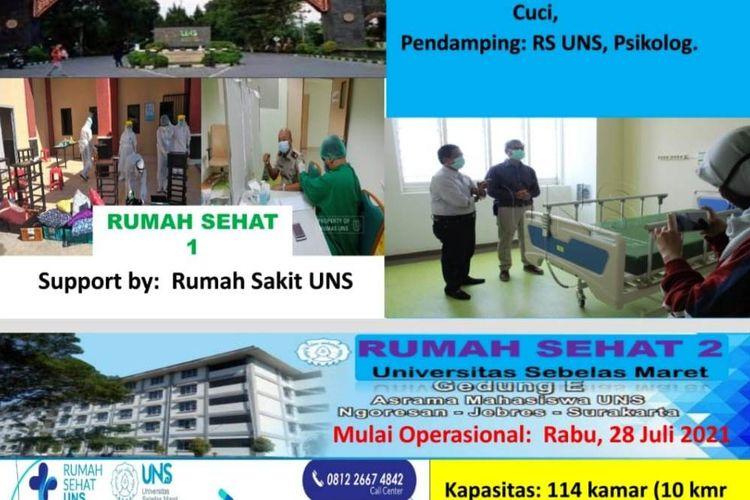 Informasi mengenai Rumah Sehat 1 dan 2 dari UNS, sebagai bentuk kepedulian UNS bagi pasien Covid di sekitar kampus UNS.