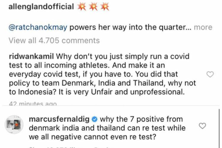 Unggahan Instagram Gubernur Jawa Barat Ridwan Kamil yang menuliskan kekecewaan atas terdepaknya tim bulu tangkis Indonesia dari ajang All England.