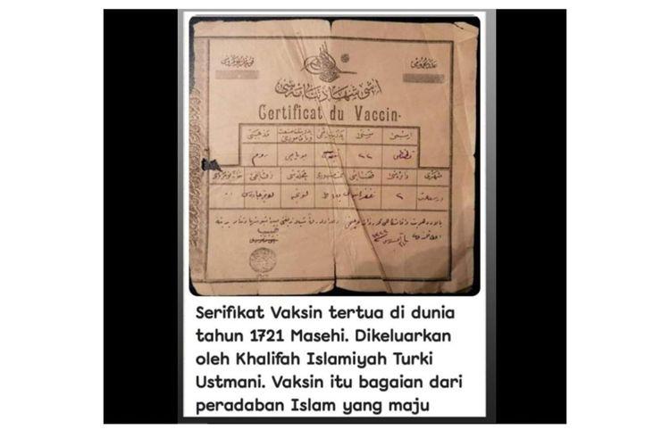 Unggahan foto sertifikat vaksin diklaim yang tertua di dunia