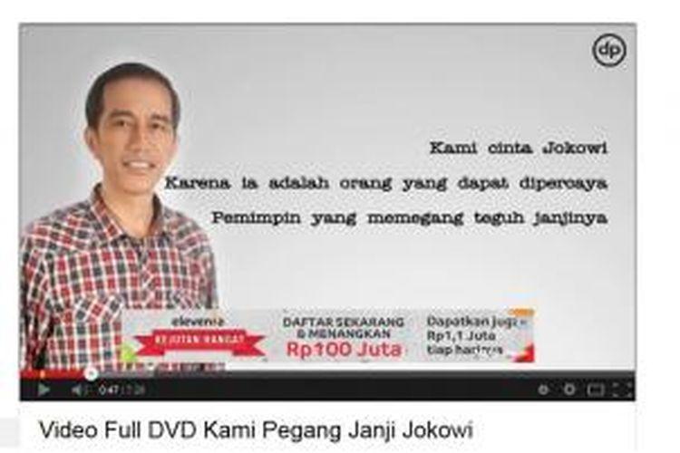 Video Janji Jokowi yang diunggah di youtube. Gambar layar diambil pada Jumat (7/3/2014) pagi.