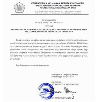 Surat perpanjangan masa pendaftaran sekolah kedinasan PKN STAN