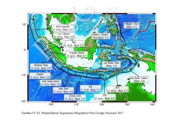Pemutakhiran segmentasi Megathrust Peta Gempa Nasional 2017.