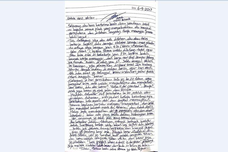 Surat yang ditulis oleh mantan Gubernur DKI Jakarta Basuki Tjahaja Purnama atau Ahok untuk istrinya, Veronica di hari ulang tahun pernikahan mereka yang ke-20.