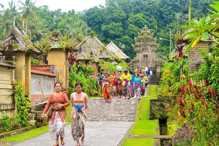 Ilustrasi Bali - Desa Penglipuran di Kabupaten Bangli, Bali.