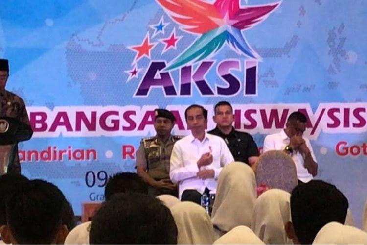 Kemendikbud Muhadjir Effendy hadir dan mendampingi Presiden Joko Widodo dalam acara AKSI (Apresiasi Kebangsaan Siswa/Siswi Indonesia) 2018 di Bogor, Jawa Barat, 10 Oktober 2018.