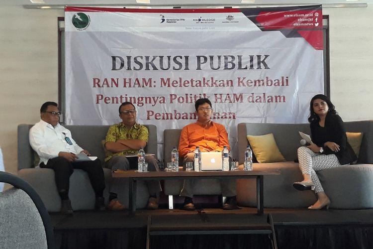 Diskusi publik RANHAM : Meletakkan Kembali Pentingya Politik HAM dalam Pembangunan di Menteng, Jakarta Pusat, Selasa (31/7/2018).