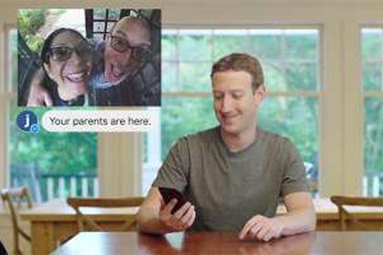 AI Jarvis mengenali orang tua Zuckerberg yang datang berkunjung dalam video yang diunggah ke Facebook.