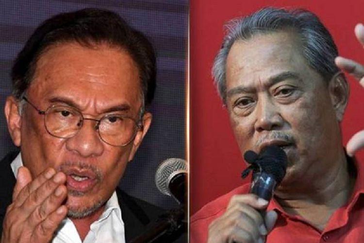 Presiden Parti Keadilan Rakyat (PKR) Anwar Ibrahim (kanan), dan Presiden Parti Pribumi Bersatu Malaysia (Bersatu) Muhyiddin Yassin.