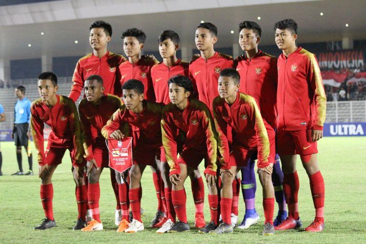 Skuad Timnas U-16 Indonesia saat melawan Brunei pada laga ketiga Grup G Kualifikasi Piala Asia U-16 2020. Laga timnas U-16 Indonesia vs Brunei digelar di Stadion Madya, Senayan, Jakarta, Jumat (20/9/2019).