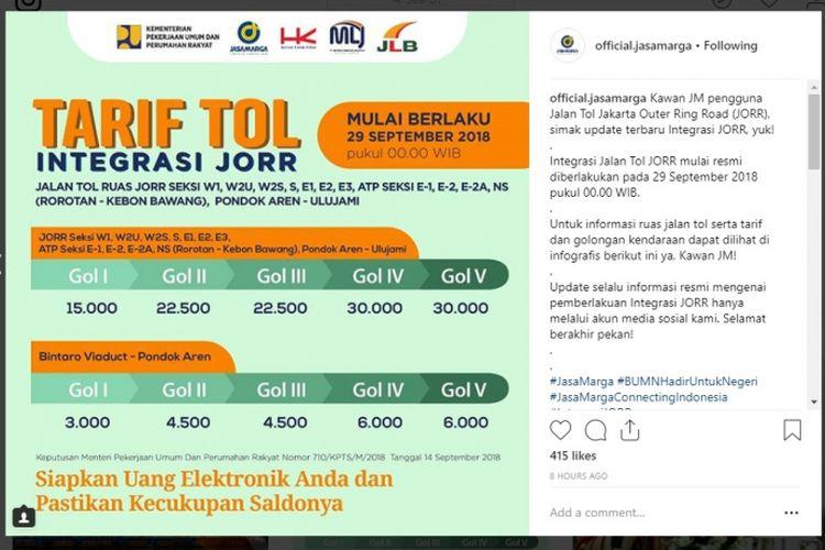 Tarif integrasi yang akan berlaku mulai 29 September 2018.