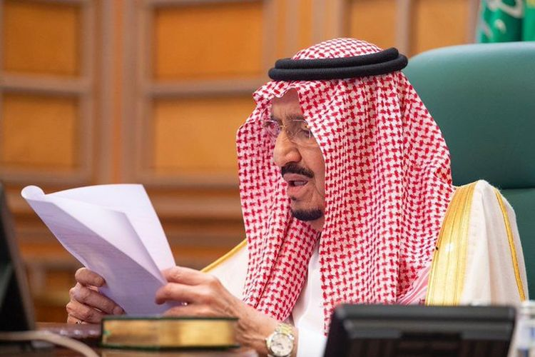 Raja Salman bin Abdulaziz al-Saud dalam konferensi virtual G-20.