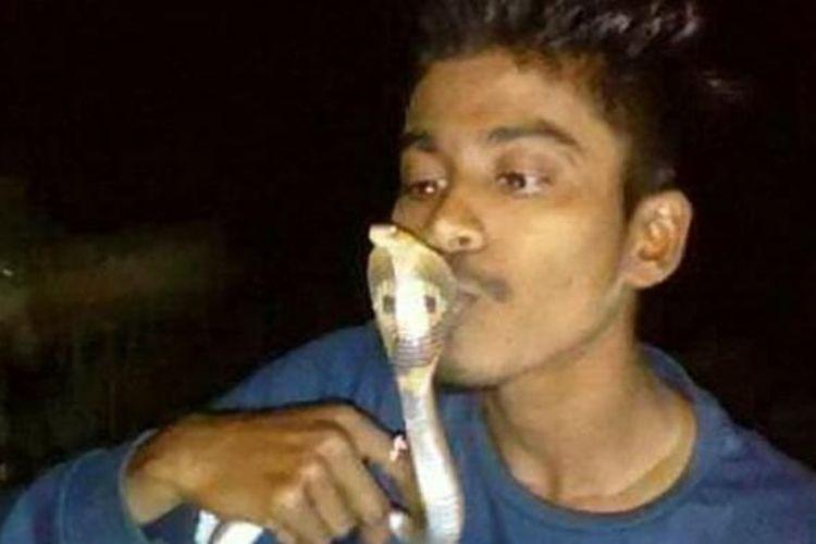 Shomnath Mhatre saat mencium seekor ular kobra.