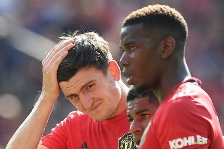 Harry Maguire, Marcus Rashford, dan Paul Pogba pada laga Manchester United vs Crystal Palace di Stadion Old Trafford, 24 Agustus 2019.