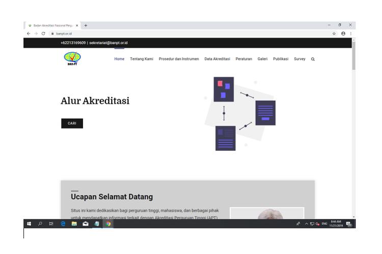 Screenshot beranda laman resmi banpt.or.id
