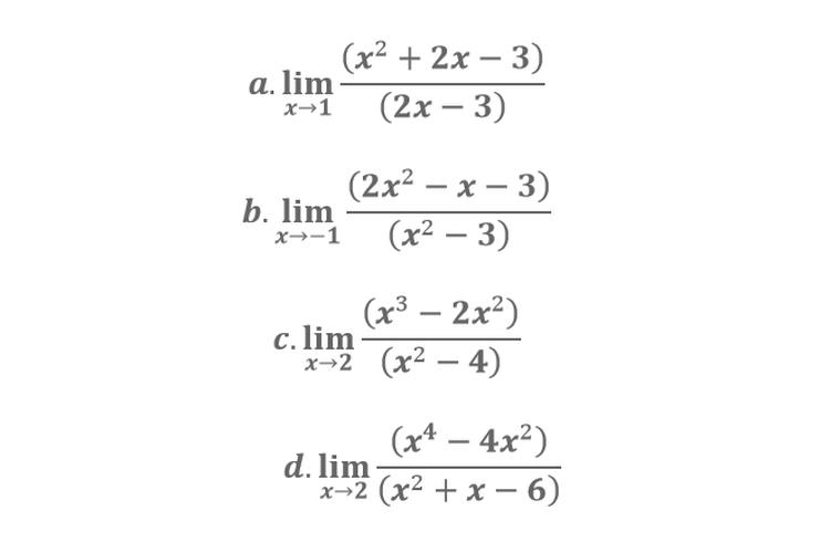 Contoh soal limit fungsi.