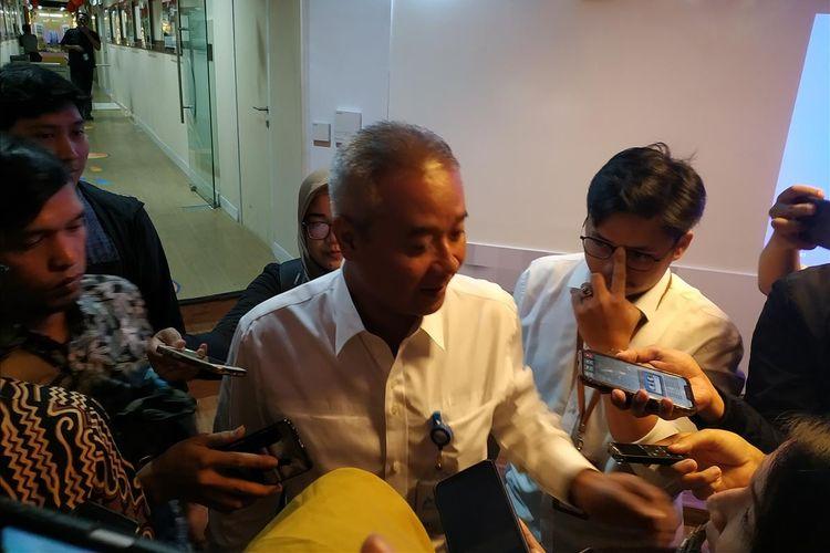Direktur Utama PT Wijaya Karya (Persero) Tbk atau WIKA Tumiyana memberi keterangan di Gedung Kementerian BUMN, Jakarta, Selasa (7/8/2019).