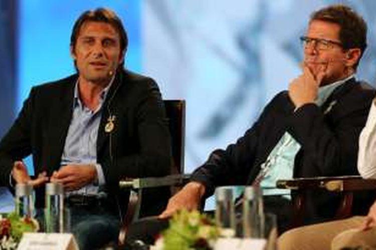 Fabio Capello (kanan) dinilai pantas menggantikan Antonio Conte sebagai pelatih tim nasional Italia.