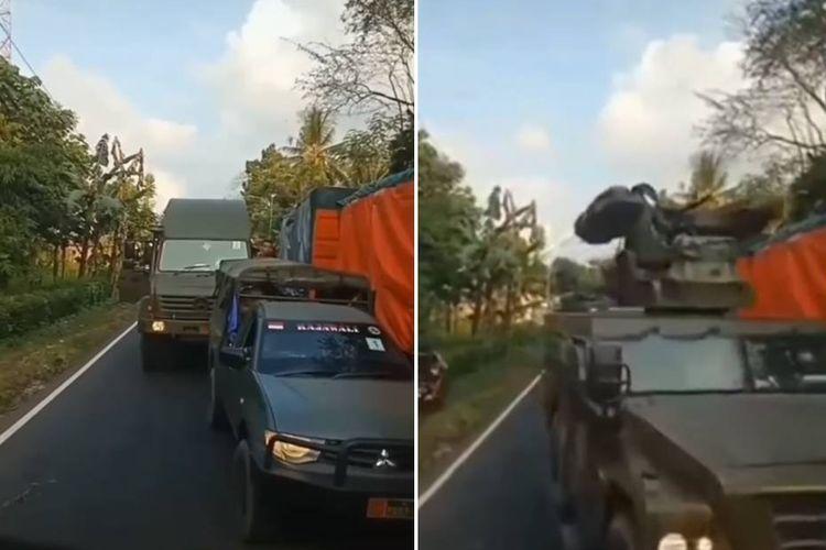 Tangkapan layar video supir truk tak mau minggir dan memberikan jalan kepada rombongan kendaraan pengangkut alat utama sistem senjata (Alutsista) TNI.