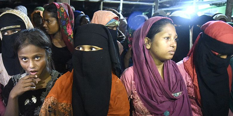Some of the Rohingya refugees from Myanmar stranded in Aceh waters on September 7, 2020.