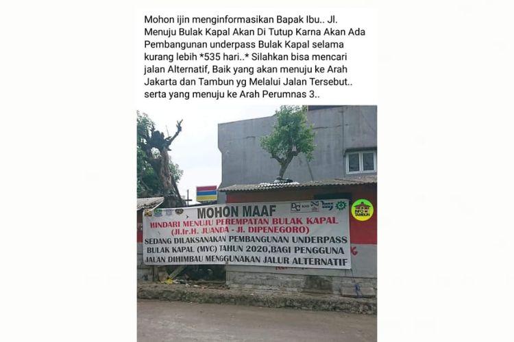 Status Facebook soal informasi keliru penutupan jalan menuju Bulak Kapal, Bekasi, karena ada pengerjaan proyek underpass Bulak Kapal.