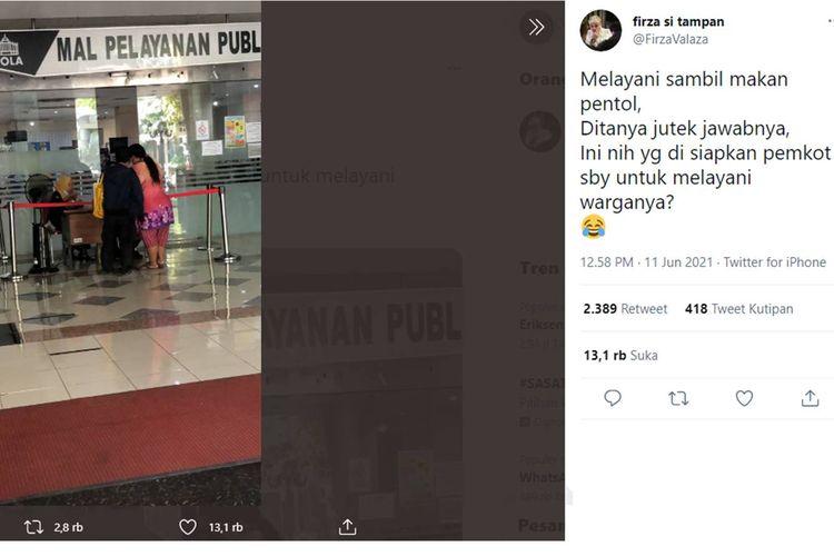 Tangkapan layar Twit soal petugas Siola yang makan pentol saat bertugas