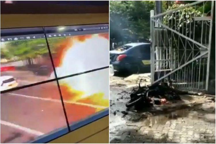 Ledakaan yang diduga bom bunuh diri di dekat Gereja Katedral Makassar pada Minggu (28/3/2021). [SS/Twitter Via The Straits Times]