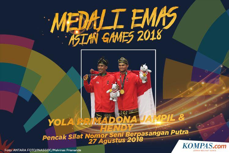 Pesilat Indonesia peraih medali emas Yola Primadona Jampil dan Hendy berpose usai penyerahan medali pencak silat nomor seni berpasangan putra Asian Games 2018 di Padepokan Pencak Silat Taman Mini Indonesia Indah (TMII), Jakarta, Senin (27/8/2018).