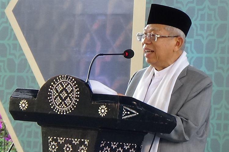 Maruf Amin saat memberikan sambutan dalam Mukernas MUI di Mandalika, Lombok, NTB.