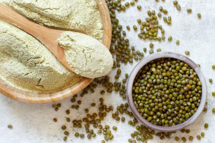 Ilustrasi tepung hunkwe atau hunkue disebut juga tepung kacang hijau.