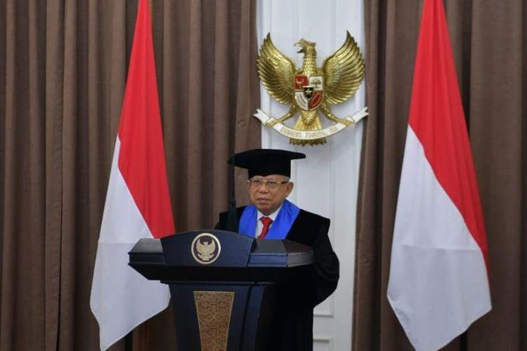 Wakil Presiden Maruf Amin saat memberikan pidato secara daring di Dies Natalis ke-66 Universitas Muslim Indonesia (UMi) Makassar, Selasa (23/6/2020). Maruf juga menerima gelar Doctor Honoris Causa Bidang Ilmu Manajemen Keminatan Syariah.