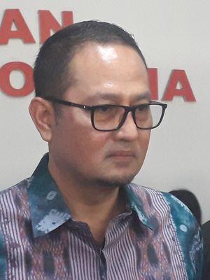 Direktur Jenderal Aplikasi Informatika Kemenkominfo Semuel Abrijani Pangerapan usai bertemu Ombudsman RI di Kantor Ombudsman RI, Rabu (28/8/2019).