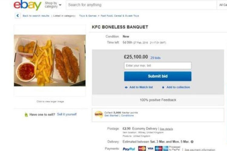 Salah satu laman toko online yang menjual menu ayam goreng KFC.
