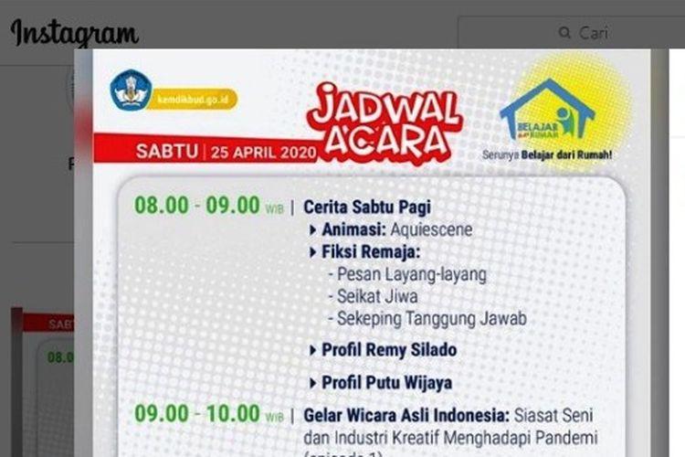 Tangkapan layar jadwal Belajar dari Rumah di TVRI, Sabtu 25 April 2020.