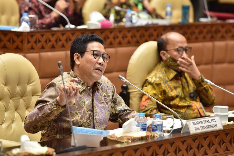 Mendes PDTT Abdul Halim Iskandar saat membahas Rencana Kerja dan Anggaran (RKA) dan Rapat Kerja Pemerintah (RKP) Kementerian/Lembaga bersama Komisi V DPR di gedung Nusantara V, Jakarta, Kamis (25/6/2020).