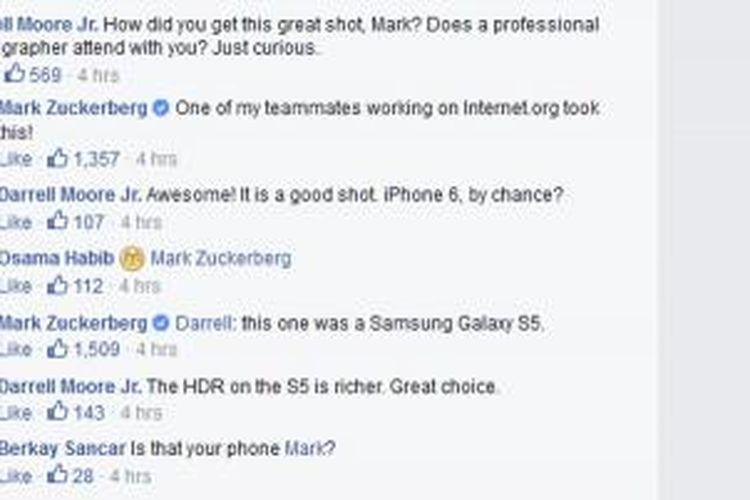 Screenshot Tanya Jawab dengan Mark Zuckerberg di Facebook