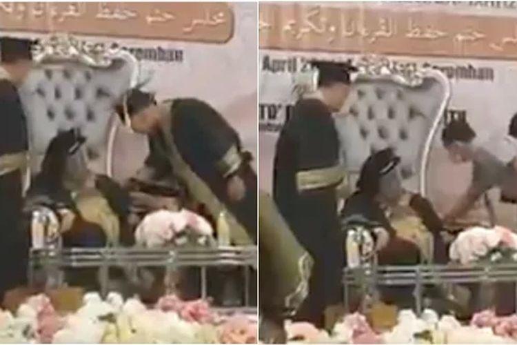 Tangkapan layar Wakil Menteri Pekerjaan Malaysia Datuk Eddin Syazlee tertidur  saat menghadiri Khataman Al-Qur?an ke-5 dan Wisuda Hafiz di Sekolah Menengah Agama dan Sains Kuala Pilah pada 10 April.
