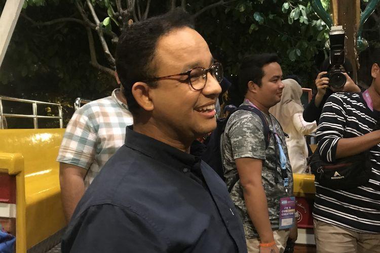 Gubernur DKI Jakarta Anies Baswedan di Ancol Taman Impian, setelah membuka acara Indonesia Content Creator Summit (ICCS) 2019, Jumat (29/3/2019).