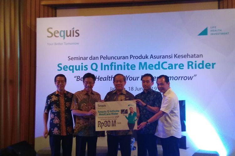 Presiden Direktur dan CEO PT Asuransi Jiwa Sequis Life Tatang Widjaja dalam peluncuran Sequis Q Infinite Medcare Rider di Jakarta, Selasa (18/6/2019).
