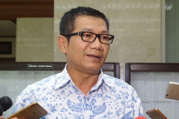 Ketua Pansus Hak Angket KPK Agun Gunandjar di Kompleks Parlemen, Senayan, Jakarta, Selasa (5/9/2017).