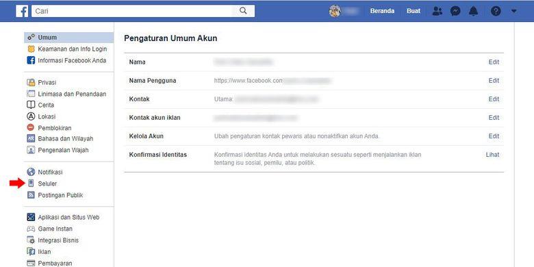 Cara mengaitkan nomor telepon di Facebook