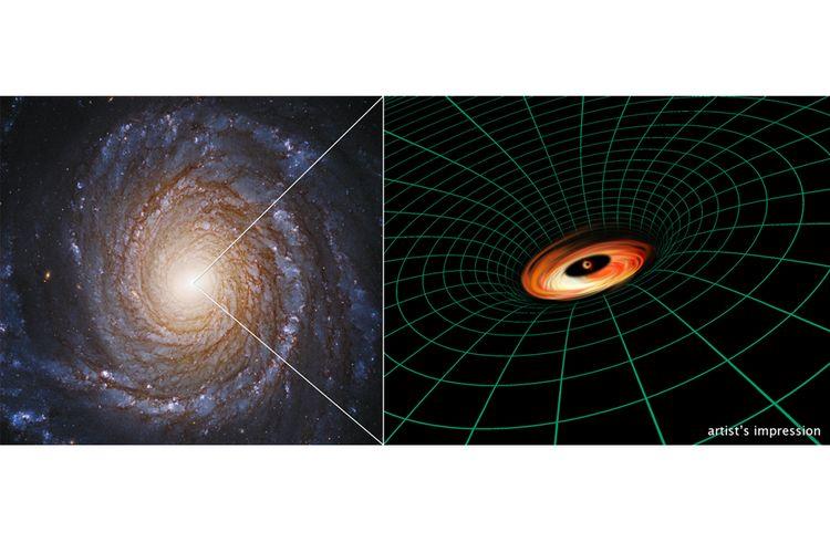 Ilustrasi piringan gas di sekitar lubang hitam galaksi NGC 3147