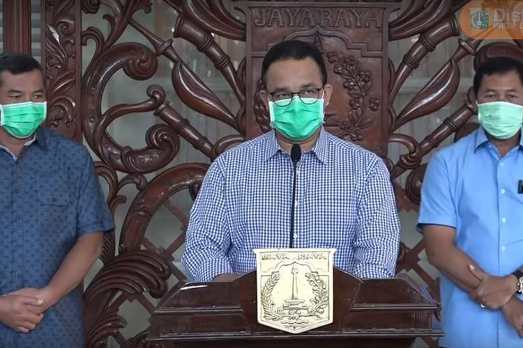 Gubernur Anies Baswedan bersama Forkopimda wawancara formal terkait update media Covid-19, Sabtu (28/2/2020).