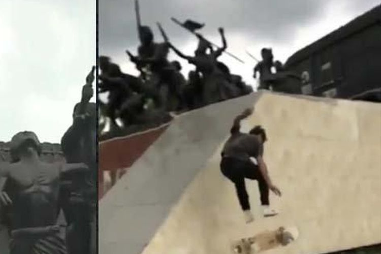 Tangkapan layar video remaja bermain skateboard di Monumen Gerbang Maut, Bondowoso, yang viral di media sosial.