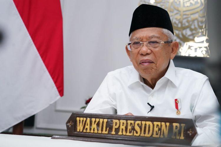 Wakil Presiden Ma'ruf Amin di acara Dialog Lintas Agama yang digelar virtual, Selasa (7/9/2021).