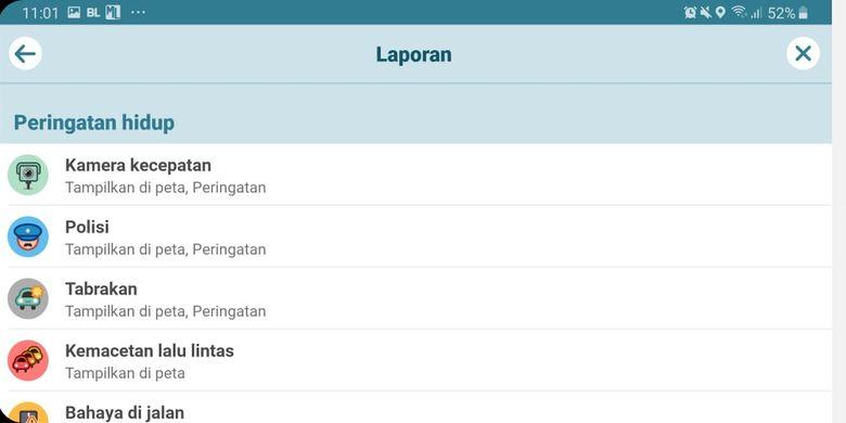 Pengaturan notifikasi lokasi kamera tilang elektronik pada aplikasi navigasi Waze