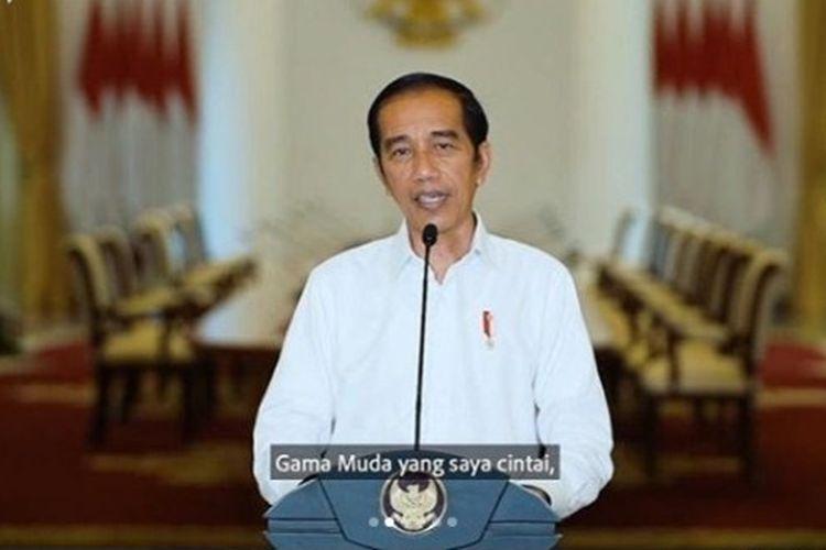 Presiden Jokowi saat membuka PPSMB UGM 2020 secara daring, Senin (7/9/2020).