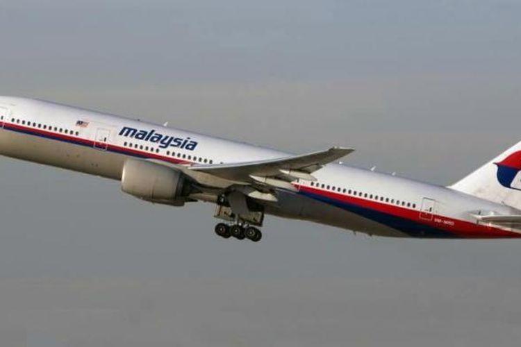 Malaysia Airlines Boeing 777-200 dengan kode 9M-MRD, pesawat sama yang jatuh di dekat perbatasan Ukraina - Rusia, Kamis (17/7/2014).