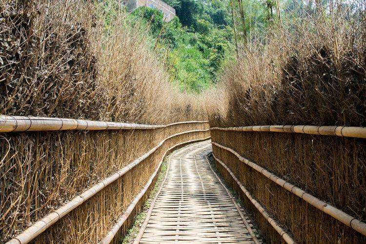 Jalur kecil yang terletak tepat di sebelah Gerbang Torii di area Jepang, Great Asia Afrika, Bandung, Jumat (17/1/2020).