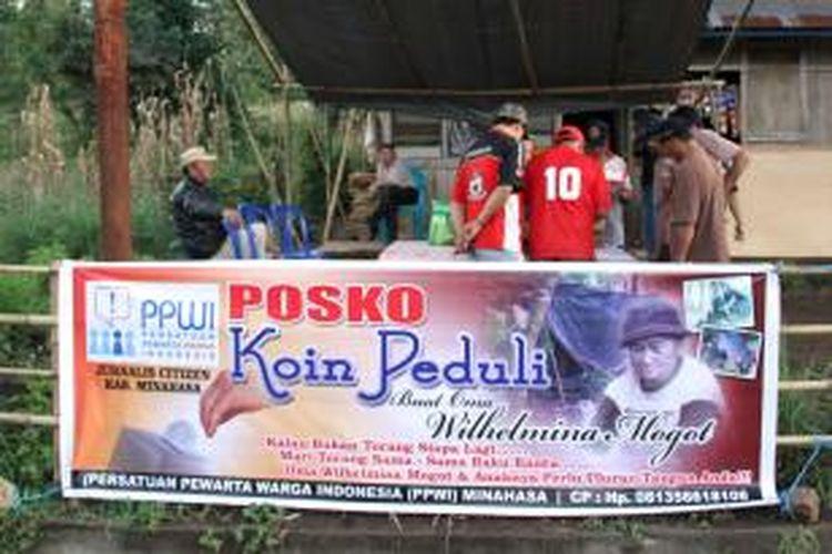 Persatuan Pewarta Warga Indonesia (PPWI) Kabupaten Minahasa mendirikan Posko Koin Peduli Buat Oma Wilhelmina.