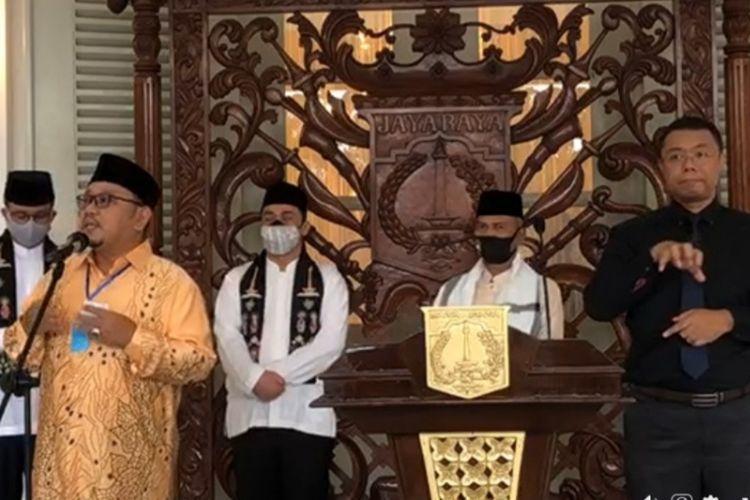 Konferensi pers Gubernur DKI Jakarta Anies Baswedan soal hari Raya Idul Fitri 1441 Hijriah di Balai Kota, Jumat (22/5/2020) petang